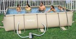 Zwembad rechthoekig frame met pomp halve parasol for Zwembad rechthoekig met pomp